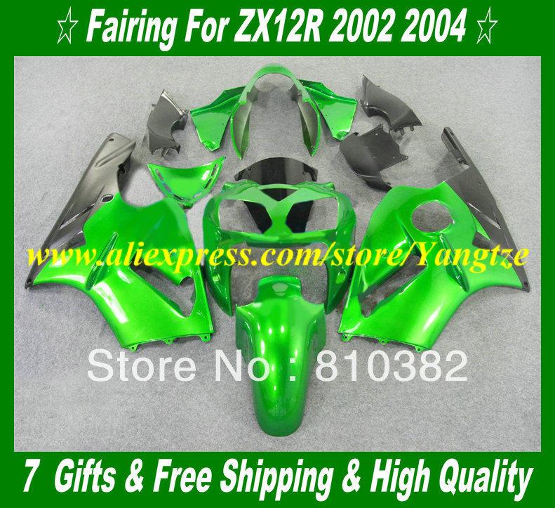 2002 KAWASAKI Ninja ZX12R 02 05 Fairings ZX 12R 2002 2005 ZX-12R 12R 02 03 04 05 green abs bofy kit KH21
