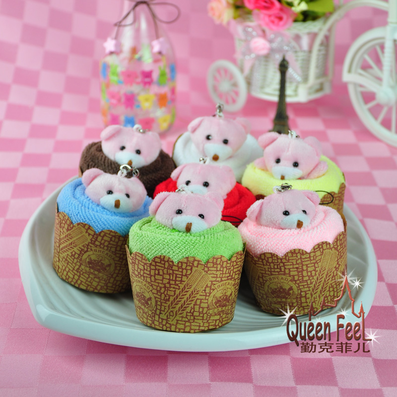 30*30cm lovely bear cupcake muffin cotton cake towel baby shower birthday party gift supplies(China (Mainland))
