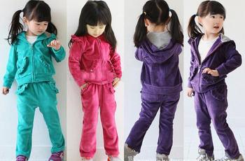 Spring girls boutique velvet suit children's sports suit
