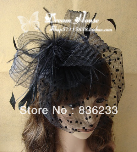 New In Stock Gorgeous black and White Wedding Hats Birdcage Face Veil Bridal Flower Feathers Fascinator