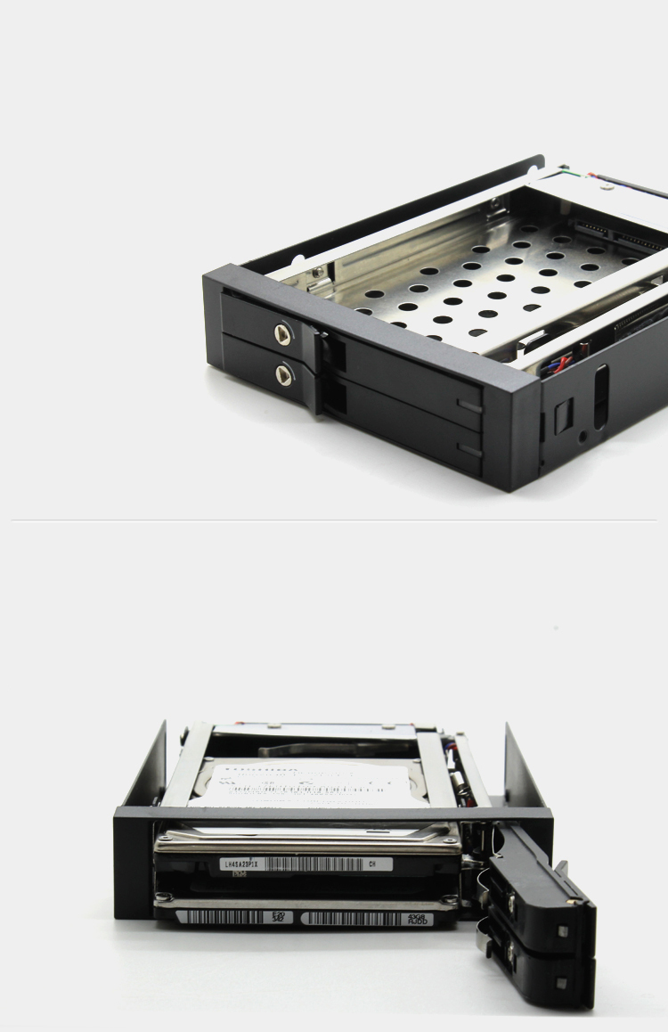 """New Dual 2.5"""" SATA SSD/HDD Mobile Rack 2.5 Internal Hard Drive Cases Enlosure Box with Key LED Indicator Hot Swap Large Storages(China (Mainland))"""