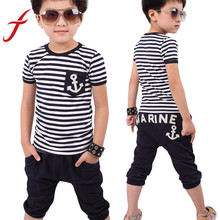 Feitong New Summer Children Kids Boys Clothes Clothing Navy Striped Short Sleeve T-shirt And Pants Suits Sets Free Shipping(China (Mainland))