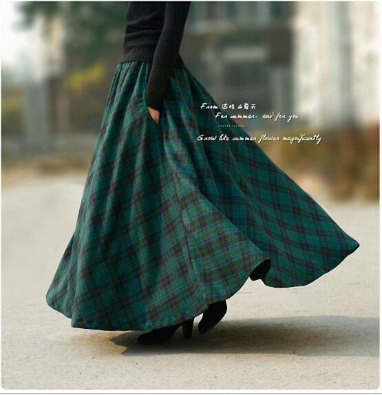 2015 Europe Spring Autumn Winter Maxi Skirt Long   Women Pleated Wool Plaid Skirt  Ankle-Length saias Femininas Casual  A-0053
