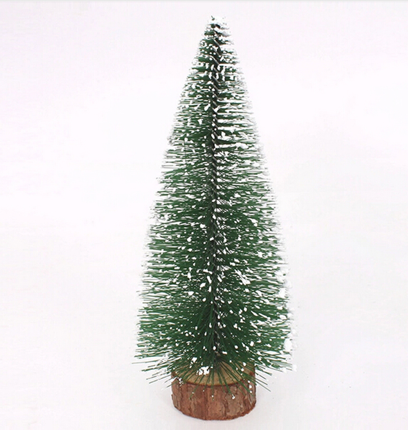 Free Shipping 2015 Party Christmas Tree 20cm Mini Heavy Pine Artificial Table Christmas Tree W/Stand Snow(China (Mainland))