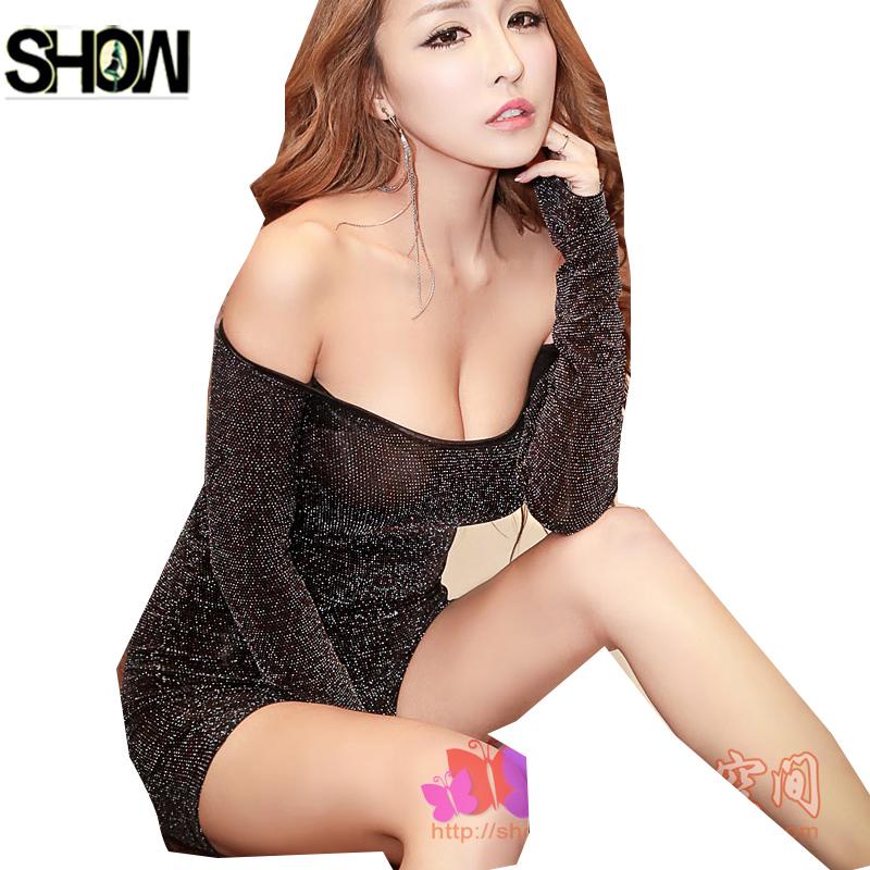 Hot Sexy Dresses Fashion Women Slim Hip Fit Pencil Low Cut Off Shoulder Super Mini Mesh Gold Night Club Sexy Sheath Tunic Dress(China (Mainland))