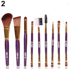 2015 New 9Pcs Professional Cosmetic  Blush Lip Makeup  Brush Eyebrow Eyeliner Beauty Brushes Tool   Set 6F39