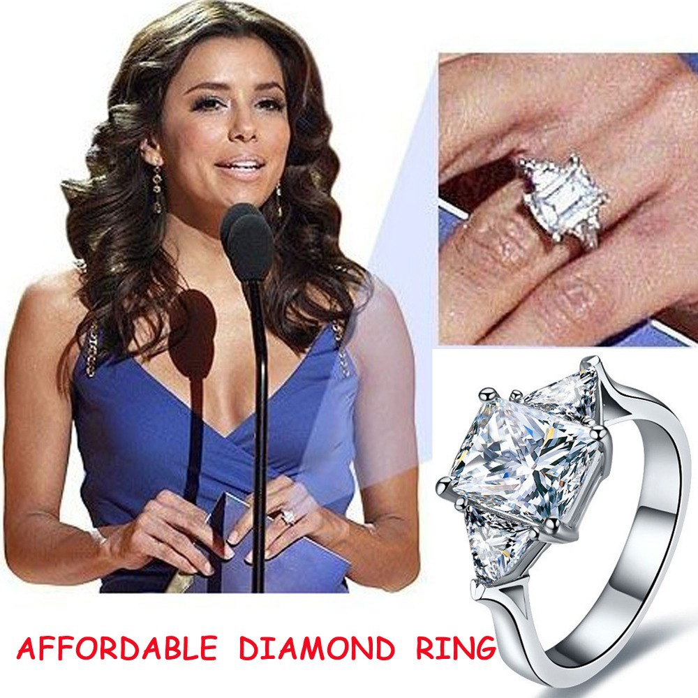 Aliexpress Buy 2014 NEW Synthetic Diamond Celebrity Engagement Rings 25ct Emerald Cut 3
