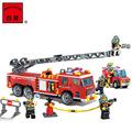 Enlighten Plastic Police Fire Rescue Truck Fireman Model Building Blocks Minifigures Educational Kids Gift Toys Christmas