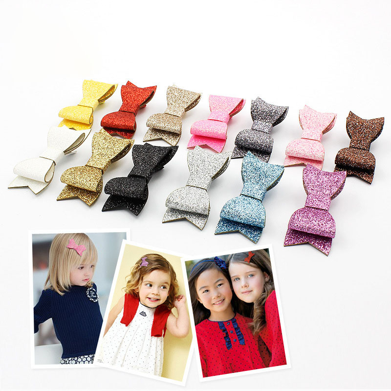 2015 new Baby Fashion Glitter Leather Hair Clips Trendy Toddler Leather Bow Knot Hairpins Toddler Faux Bow Hair Clips 30pcs/lot(China (Mainland))