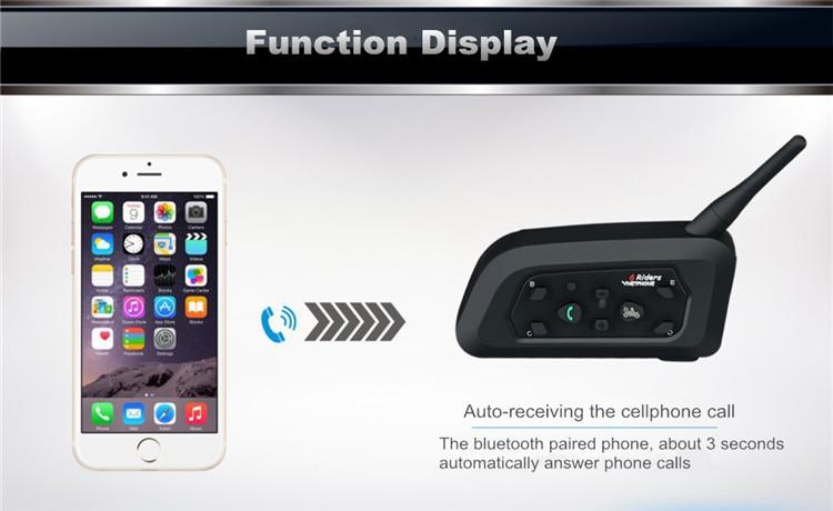 2PCS Vnetphone V6 Motorcycle Bluetooth Helmet Intercom Headset 1200M Moto Wireless BT Interphone for 6 Riders Intercomunicador