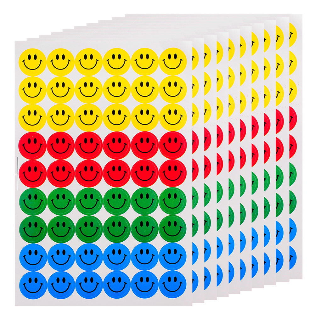 New Cute 540pcs Colourful Round Smile Face Stickers Decal Kids Children Teacher Praise Merit Home office(China (Mainland))