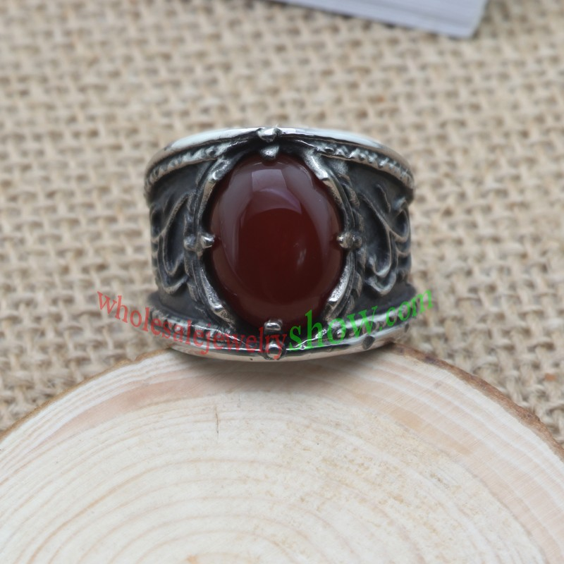 Fantasy ring with red man-made jewel made of stainless steel(China (Mainland))