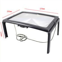 Envío gratis nueva 3x escritorio plegable tipo lupa de lectura con lámpara 4LED anciano / noche de lectura stent ultrafino PVC de lectura de vidrio