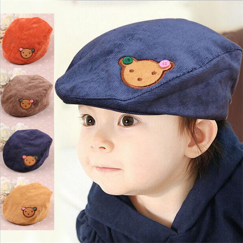 Spring Autumn Baby Children Hats Baby Hats Caps Baby Boy Girl Beret Sun Hat Lovely Bear Corduroy Lovely Baby Caps(China (Mainland))