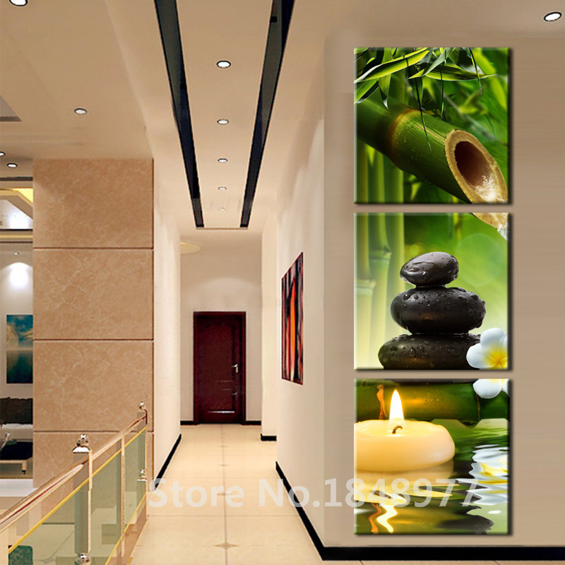 3 panels modern wall art oil painting spa stone bamboo candels home decoration canvas prints - Decoratie spa ...