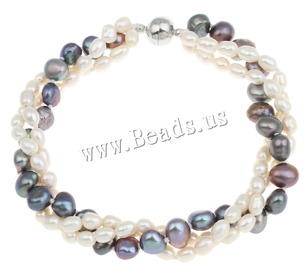 Free shipping!Sold Per Approx 7.5 Inch Strand two tone 3-strands brass magnetic clasp Freshwater Pearl Bracelet(China (Mainland))