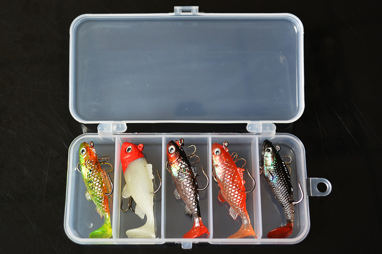 5 pcs Value Pack New Lead package Fish Road sub Fishing Lure Seawater artificial bait Three anchor hook and Square plastic box(China (Mainland))