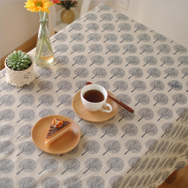 New Printed Tree Cotton And Linen Tablecloth Restaurant Home Textile Party Decoration 1013ZB(China (Mainland))