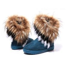 Zapatos de la borla de las mujeres 2016 Otoño Invierno Cálido altas botas de nieve artificial largas zorro de piel de conejo de cuero a172(China (Mainland))