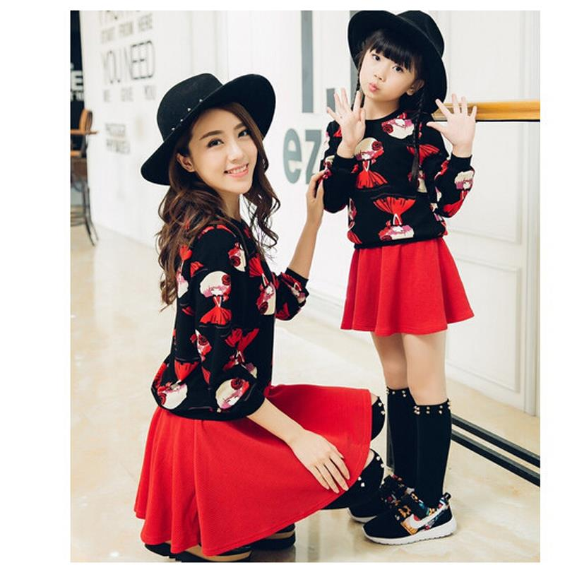 Mom and Daughter Dress 2016 Spring Mother Daughter Dresses Fashion Mother and Daughter Clothes Hoodies + Skirt 2Pcs/lot Lovely <br><br>Aliexpress