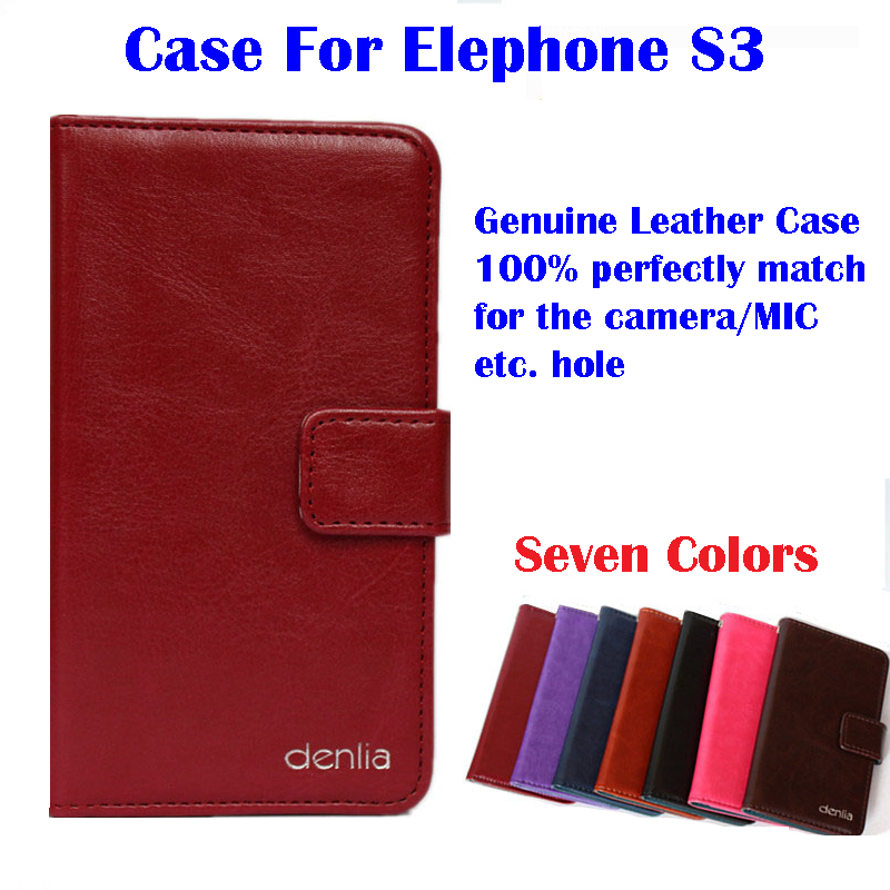Elephone S3 Case New Arrival 7 Colors High Quality Flip Genuine Leather Protective Phone Cover For Elephone S3 Real Skin Case