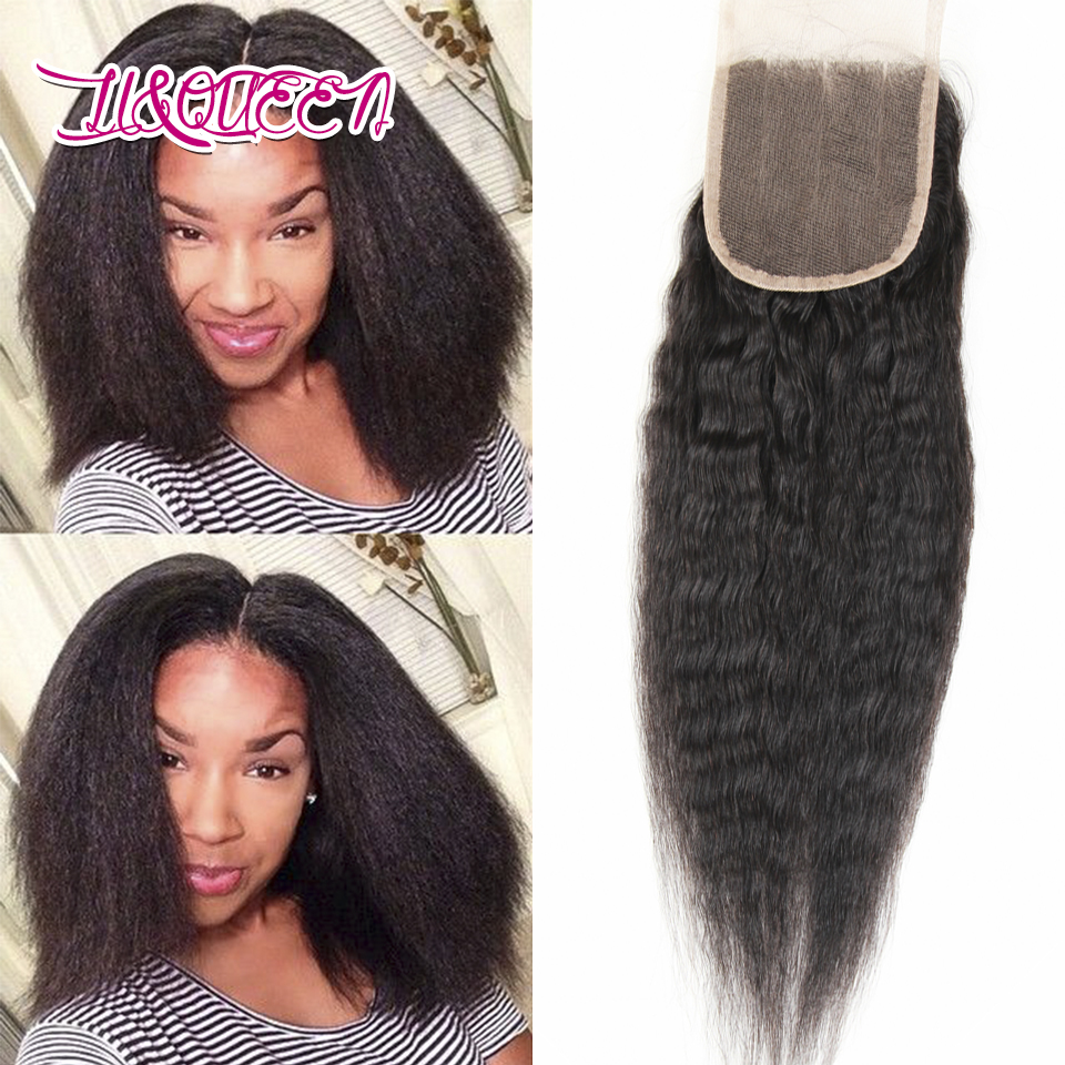 6A Indian Kinky Straight Closure 4x4 inch Coarse Yaki Closure Natural Black Indian Lace Closure With Baby Hair Free Middle Part<br><br>Aliexpress
