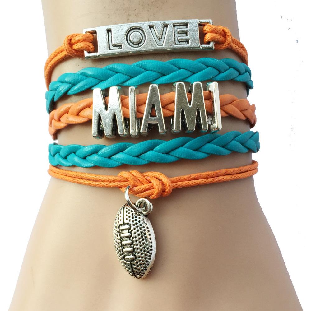 Custom Plate Love Miami NFL Football College Bracelets- Handmade Leather Braided Rope Charm Friend Gift(China (Mainland))