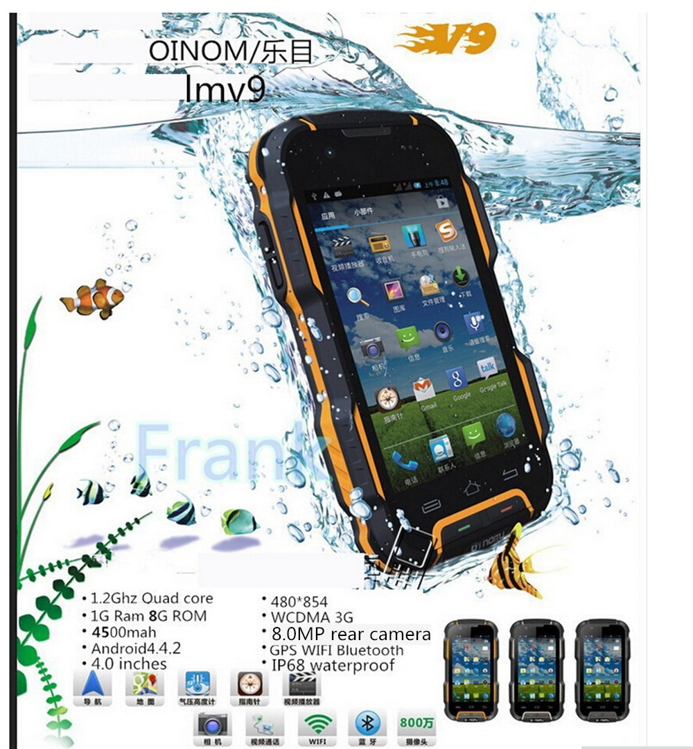 Original OINOM LMV9 lmv9d Waterproof IP68 Shockproof phone 4500mAH Quad core MTK6589 4inch 1G RAM 4G ROM WCDMA 8MP v11 v8 v9 f6(China (Mainland))