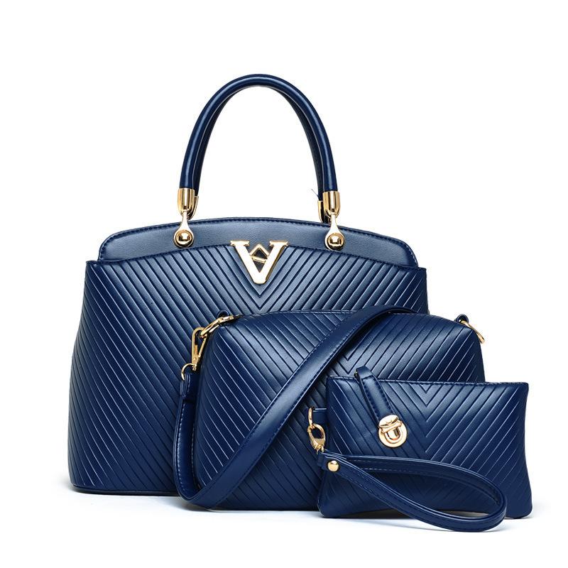 2015 new European and American fashion wild shoulder diagonal plaid three-piece portable handbags buy one get two(China (Mainland))