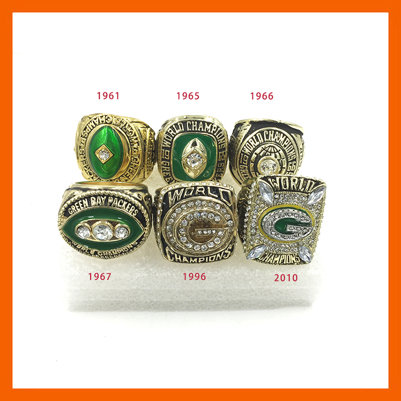 New Arrival Replica American Football 1961/19651966/1967/1996/2010 Green Bay Packers Set Championship Rings(China (Mainland))