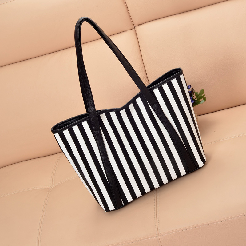 2016 New fashion Stripe Women Shoulder Bag leather handbag Shopping tote bags(China (Mainland))
