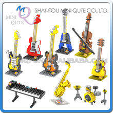 Buy Mini Qute LOZ 9 styles musical instrument Violin Bass guitar plastic building block bricks model kids model educational toy for $2.56 in AliExpress store