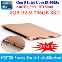 8 GB RAM 256 GB SSD HYSTOU Core i3 5005U ordinateur portable 3 ano garantie ordenador portatil 5 mm mince Notbook puissant CPU 1080 P HD(China (Mainland))