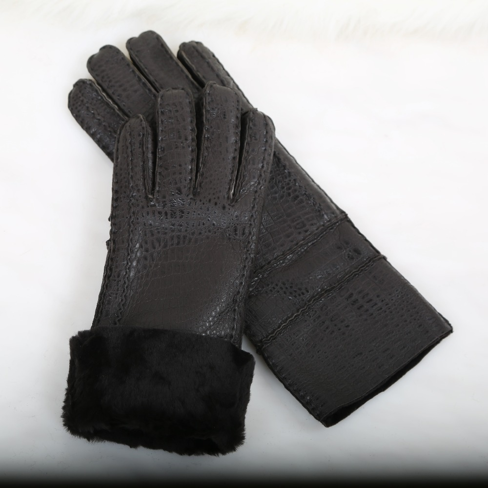 Winter Gloves & Mittens Real leather gloves Men fleece long warm wool Sheep skin leather gloves for Men F310(China (Mainland))
