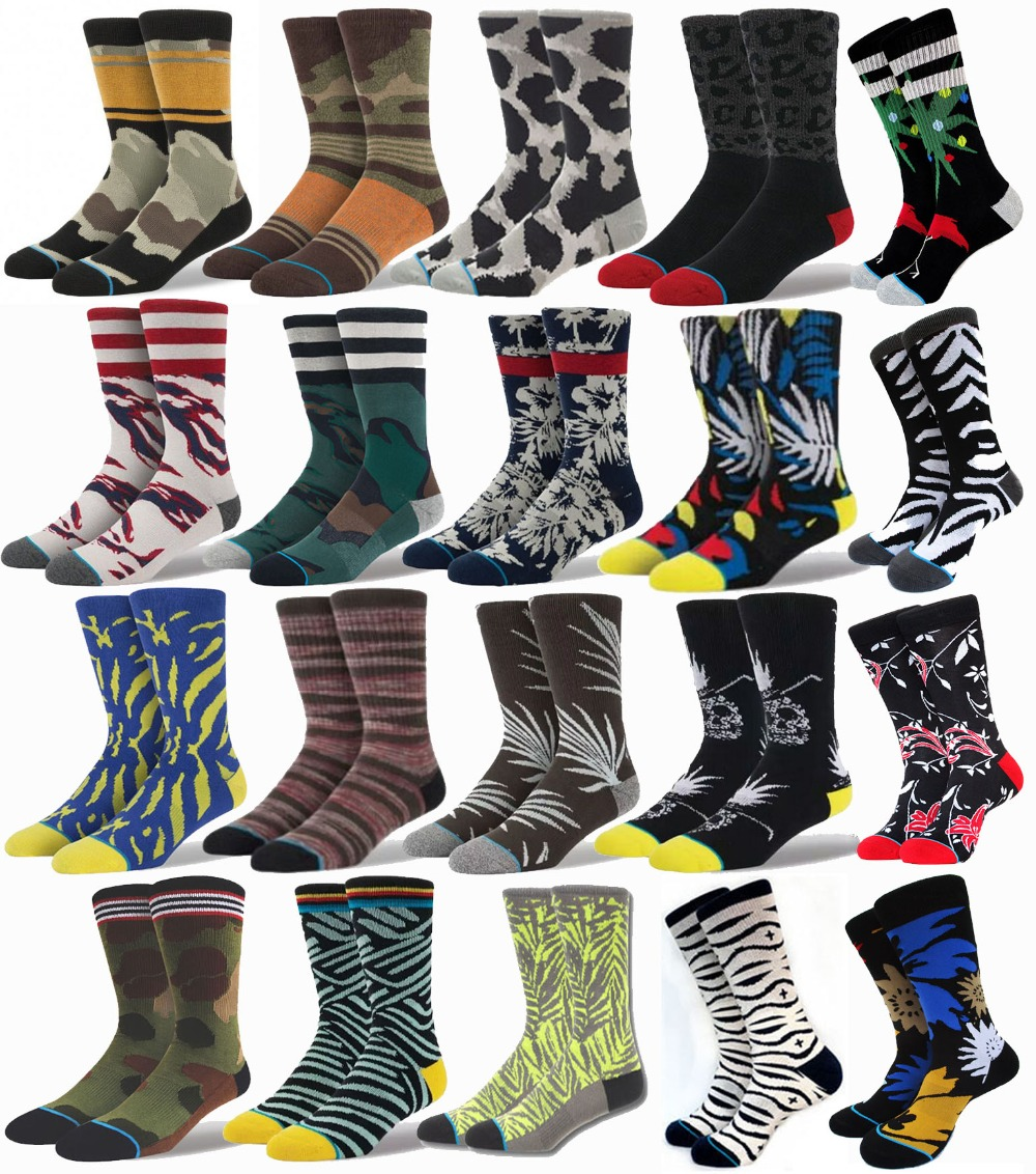 CAMO Leopard Skull Flower colorful chaussettes skate sport socks compression terry basketball sport socks men calcetines 186(China (Mainland))