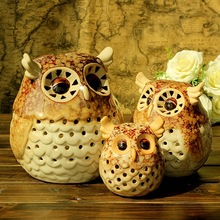 1pc Zakka Home Decor Ornament Christmas Gift Night Owl Figurine Statue Handmade Ceramic Candleholder Candler(China (Mainland))