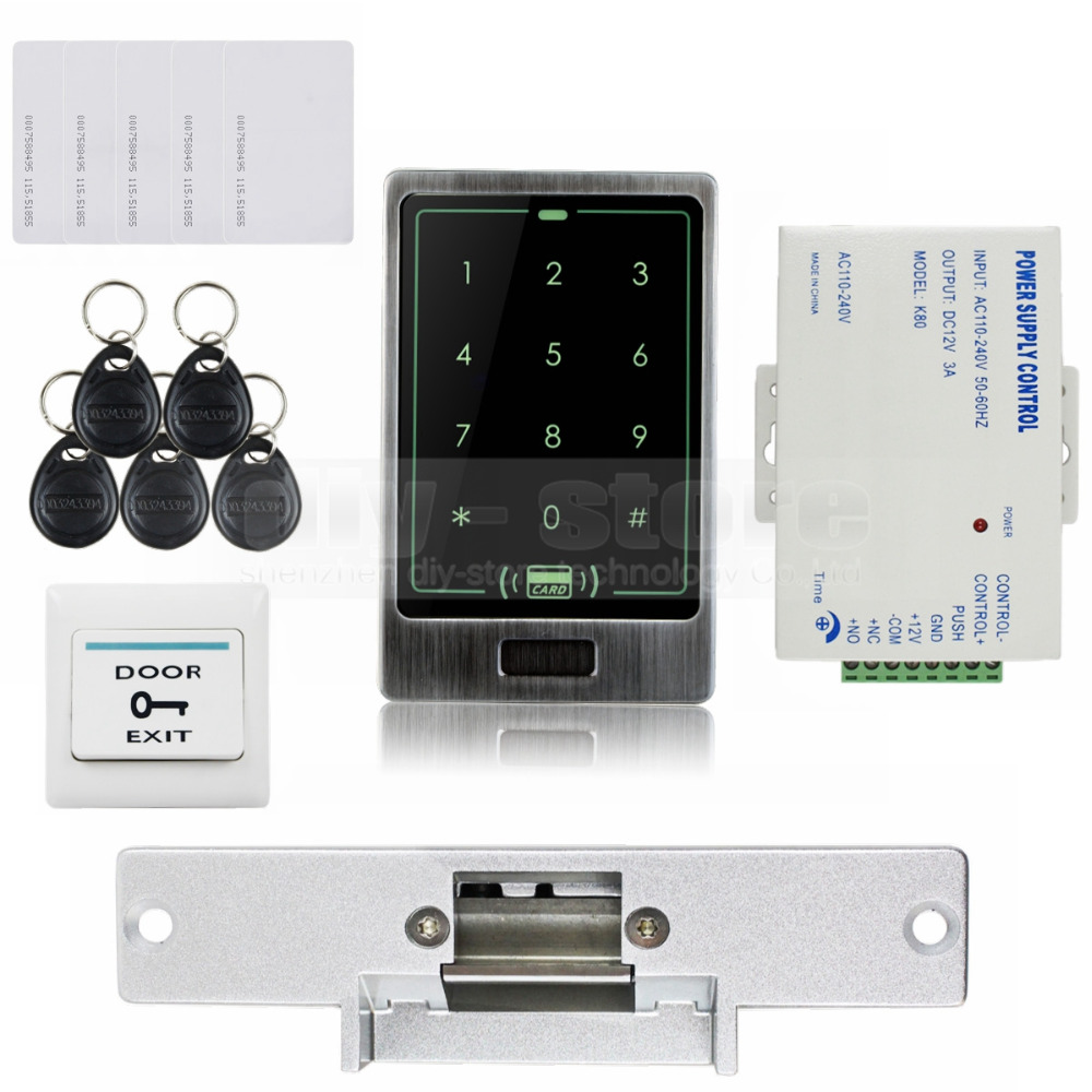 125KHz RFID Touch Reader Password Keypad Door Access Control Security System Kit + Strike Lock C20<br><br>Aliexpress