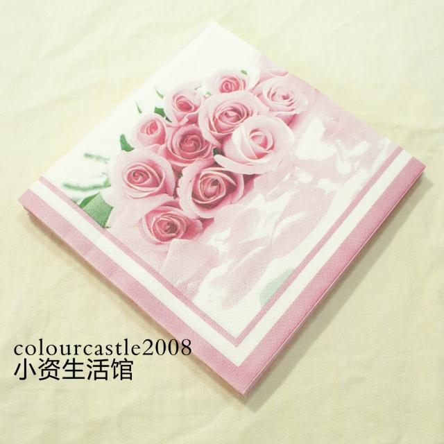 Free shipping 20 Piece/lot 100% Virgin Wood Pulp Vintage Retro Pink Rose Flower Style Paper Napkins for Festival Decoration(China (Mainland))