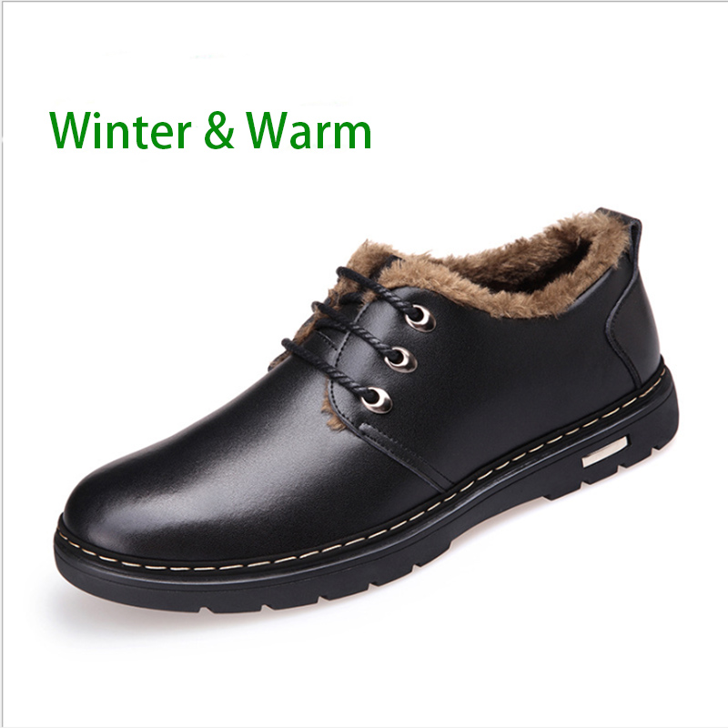 winter 2016 mens solid warm oxfords luxury leather shoes