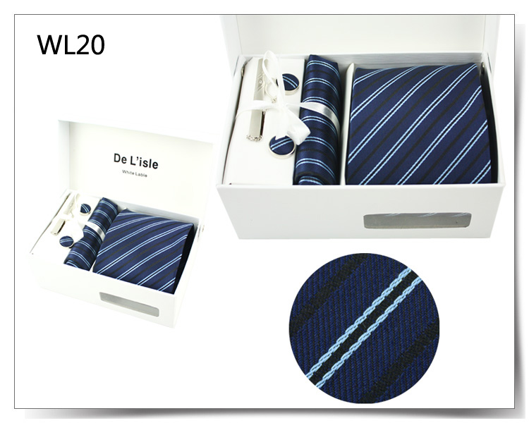 Cufflinks Hanky Tie Clip Gift Set Premium Woven Jacquard Necktie Luxury Present with Giftbox and Handbag(China (Mainland))