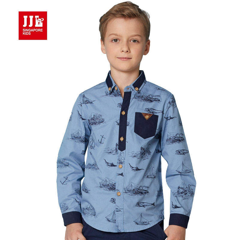 Boys Shirts Fashion Kids Clothes Spring Autumn Kids Blouse Navigation Printing 2016 Brand