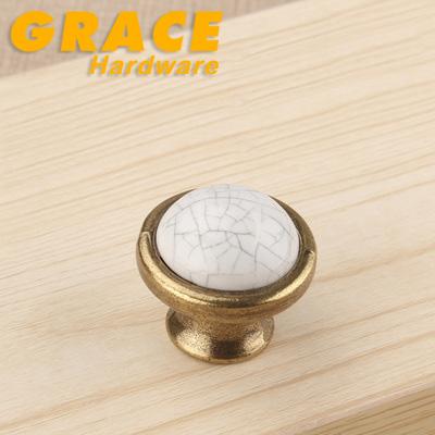 New Crack Ceramic Garden Antique Bronze Furniture Knobs Drawer Cabinet Handle(D:38mm)(China (Mainland))