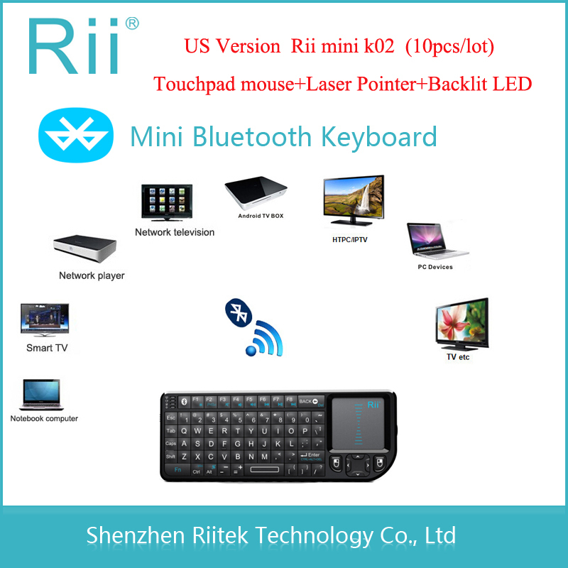 Rii mini K02 Bluetooth Keyboard Qwerty Wireless Touchpad Handheld Keybord with Laser Pointer Backlit LED Combo Tablet PC Teclado(China (Mainland))