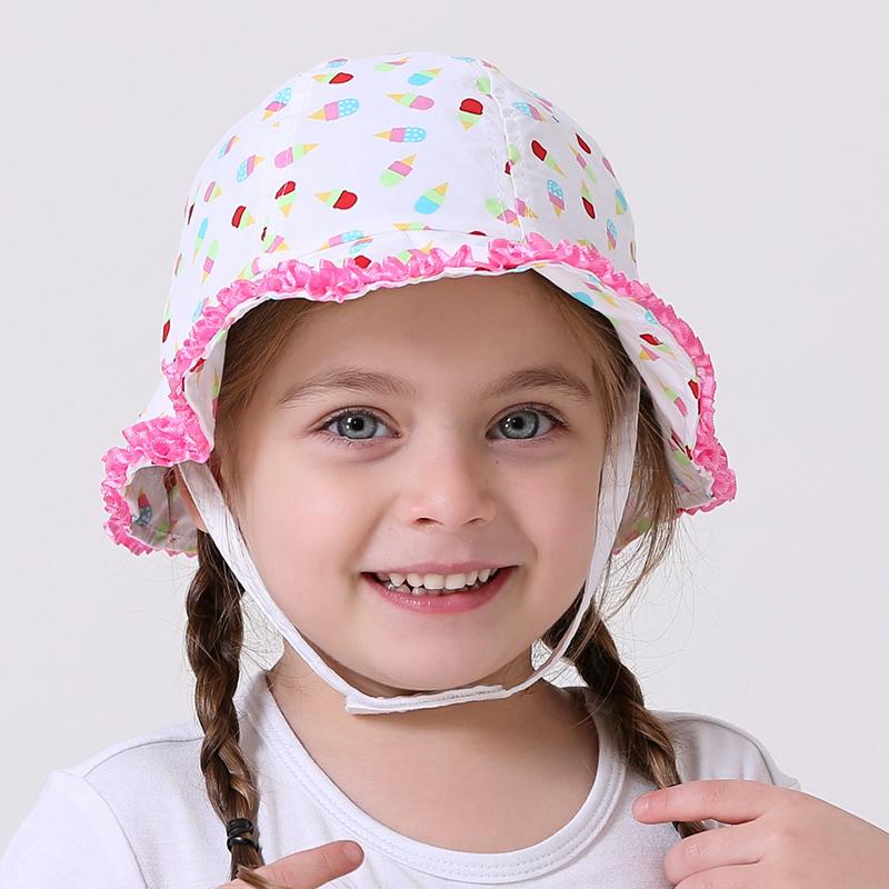 baby & kids girls geometric print flowe trim new 2016 summer cotton casual bucket hats children casual sun hats(China (Mainland))