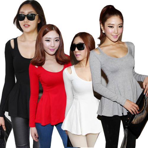 new fashion peplum blouse patterns Korean style slim pendulum waisted fashion ruffled blouse women s top fashion blouses(China (Mainland))