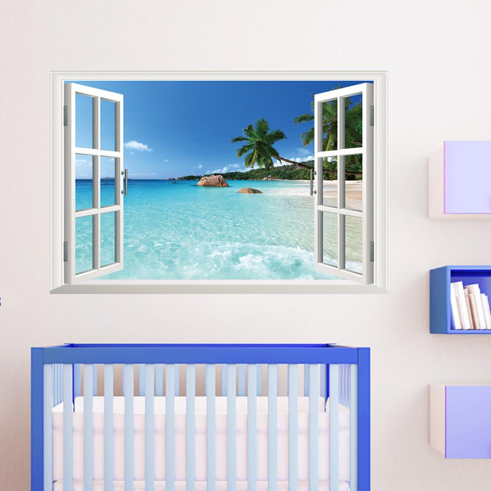 Blue Coastal Scenery Ocean Beach Window Wall Stickers Decals Removable 3D Vinyl Mural Art Nursery Living Room Decor. - Madegiftforyou Factory Store store