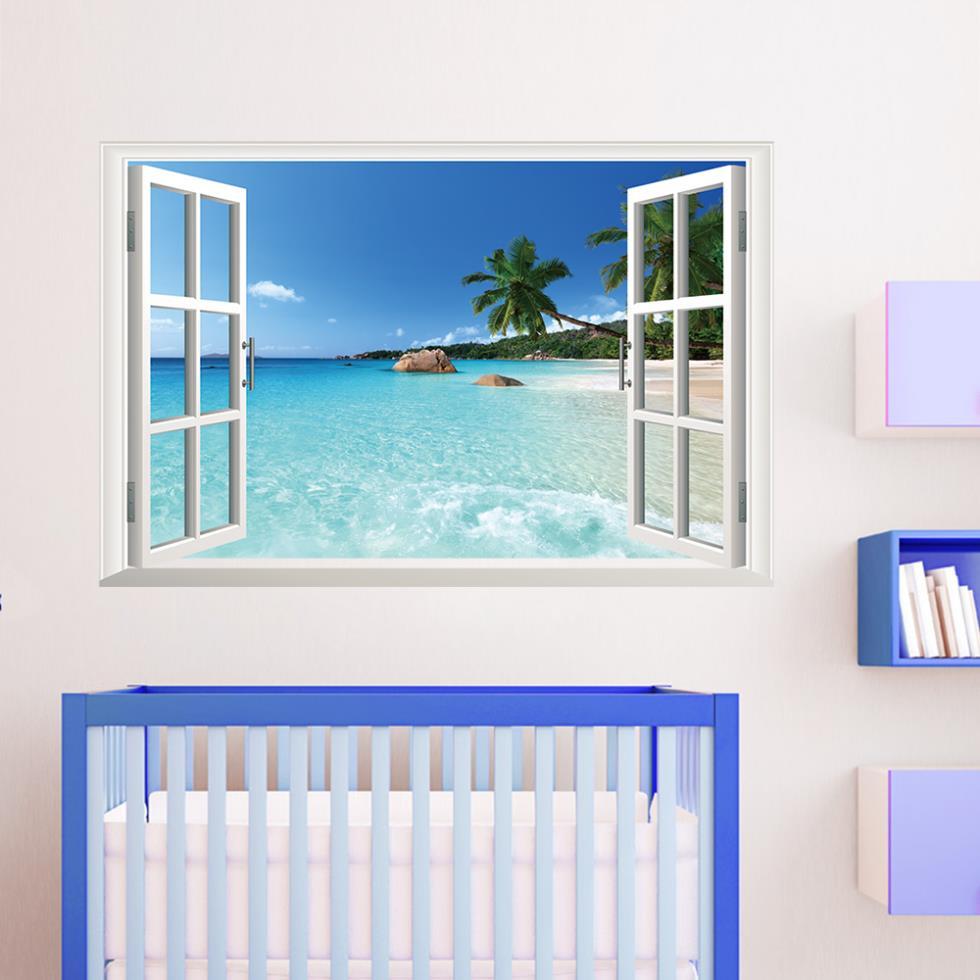 Buy blue coastal scenery ocean beach for Beach wall mural decals