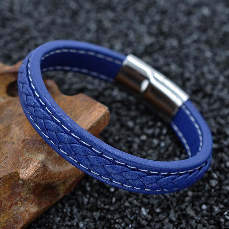New 2016 Man Black Leather Bracelet Stainless Steel Buckle Magnetic Bracelets Homem Pulseira Punk Bangles Men Jewelry LPH1101(China (Mainland))