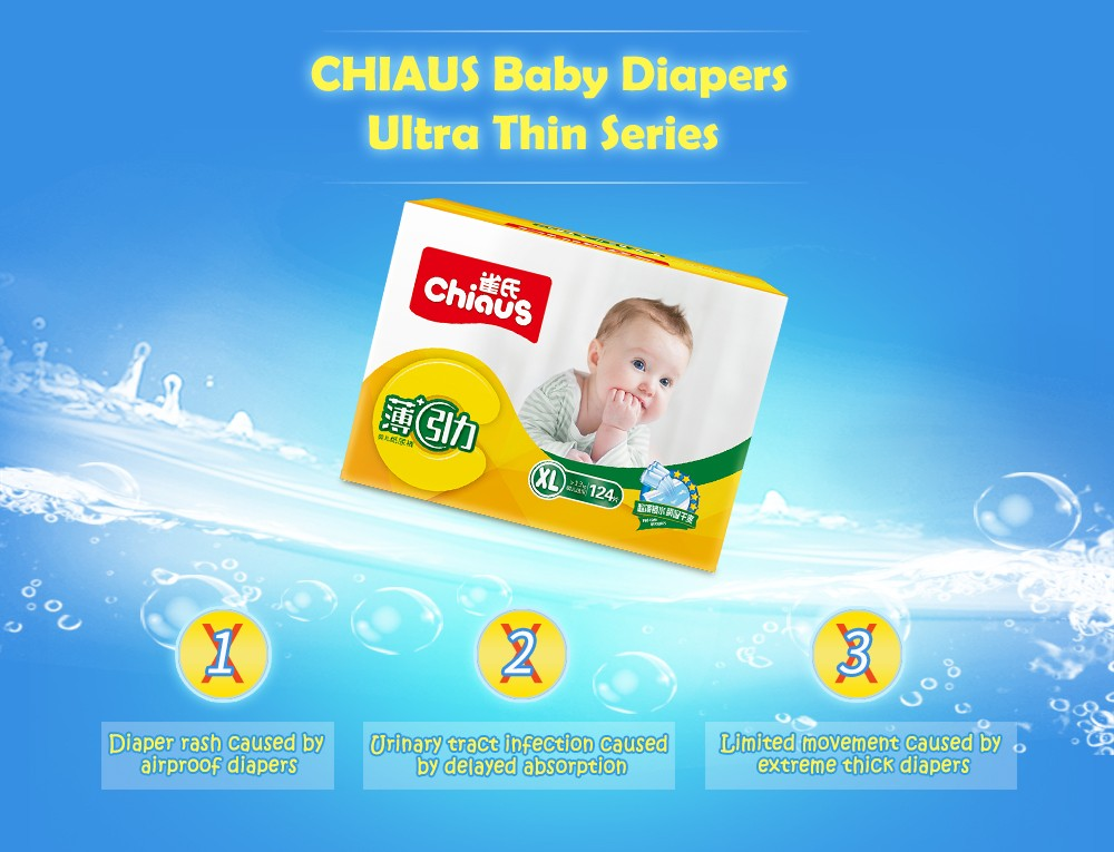 Hot Sale Chiaus Ultra Thin Baby Diapers Disposable Nappies 124pcs XL for >13kg Breathable Soft Non-woven Unisex Nappy Changing