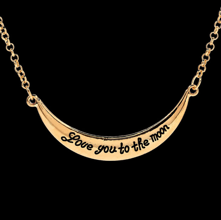 #893 Free Shipping 2015 Hot new fashion trade I LOVE YOU TO THE MOON alloy necklace